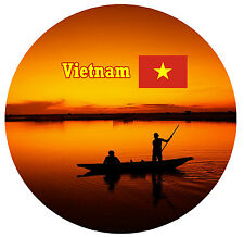 VIETNAM - FLAG / SIGHTS - ROUND SOUVENIR NOVELTY FRIDGE MAGNET - NEW / GIFTS