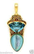 Sajen 18K Gold Rare Signed Sparkling Blue Topaz and Turquoise Drop Pendant