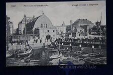altes AK Kiel Fischhalle mit Fischerhafen Königl. Schloss u. Seegarten