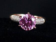 Engagement Ring 14K Rose Gold Over 1.25Ct Round Cut Purple Amethyst Diamond