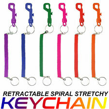 Key Chain Keyring Retractable Spiral Stretchy Elastic Coil Spring Clip On Ring