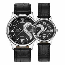 NEW Romantic Black Pair Fashion Wrist Watches for Couple Men Women Set of 2