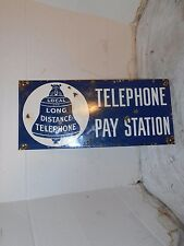 VINTAGE COLLECTIBLE PORCELAIN TELEPHONE PAY STATION SIGN