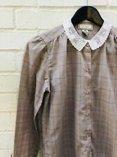 Vintage Chic 80s Blouse Top School Plaid Button Up Sexy cool Katelyn Court Small