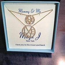 "Mother-Daughter 18k Gold over Sterling Silver ""LOVE CIRCLES"" 2 Necklaces MJ-8A"