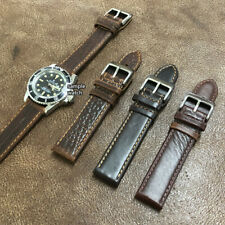 Size 20/22mm XL Long Brown Oily Leather Army Style Watch Strap/Band #024