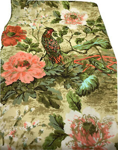 """(4) MCM Curtain Panels Pheasant Coral Floral Fabric Retro 82""""x23"""" Lined Gorgeous"""