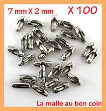 100 CONNECTEURS POUR CHAÎNE A BOULE de 1 à 1,5 mm en métal argenté,fimo-co025