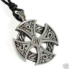 56H Silver PEWTER Celtic SOLAR CROSS Pendant NECKLACE
