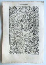 1493 INCUNABULA LEAF NUREMBERG CHRONCLE antique JESUS w/ APOSTLES SALVATOR