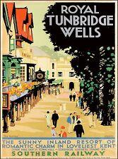 Royal Tunbridge Wells Kent England Britain Vintage Travel Advertisement Poster