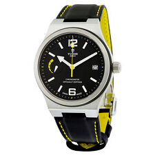 Tudor North Flag Black Dial Automatic Leather Mens Watch 91210NBKLS