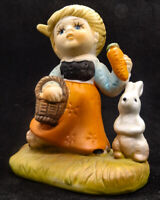 Young Girl Feeding her Bunny Rabbit Carrots Ceramic Collectable Figurine,