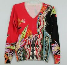 ETRO Womens V-Neck Printed Slink Blend Sweater Size 48 XL Multicolor GUC #17320