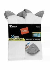 Hanes Men's X-Temp LightWeight Cool Active Crew 12 Pair Socks, Size 6-12 (NEW)