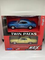 Welly 1965 Gold Pontiac GTO 1967 Blue Firebird NEX Twin Pack Die Cast New