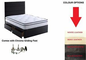 5FT KING SIZE LEATHER DIVAN BED + MEMORY FOAM SPRING MATTRESS BLACK LEATHER