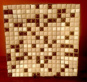 "Vintage Mosaic Ceramic Tile 8"" square dish brown beige white on gold tone metal"