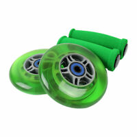 GREEN Replacement Razor Scooter Wheels, ABEC 7 Bearings, GREEN Grips