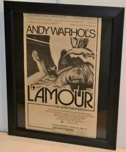 ANDY WARHOL 1973 LAMOUR MOVIE ORIGINAL FRAMED PROMO AD