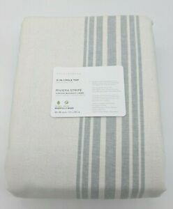 POTTERY BARN ~ RIVIERA STRIPED POLE TOP PORCELAIN BLUE PANEL~ 84""