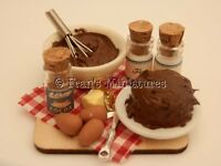 Dolls house food: Making chocolate fudge cake prep board -By Fran