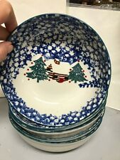 4 Tienshan Folk Craft Country Cabin Christmas Soup Cereal Bowls Blue 6.5