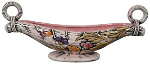 Vintage Hull Art Pottery 1955 Pink Blossom Flite T10 Console Bowl Centerpiece