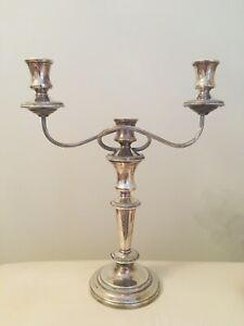 Vintage Strachan Silver Plate Candle Stick Holder Candelabra