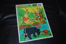 Disney Winnie the Pooh Tigger Pooh Eeyore Fishing Golden Frame Tray Puzzle NEW