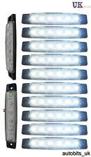 10 pcs White 24V 6 LED Side Front Marker Indicators Lights Lamp Truck Trailer
