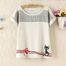 Brand New Korean Style Cartoon Cat Bow Kitty Ribbon Blouse Shirt Top XS