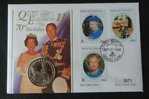 1996 QUEEN ELIZABETH II 70th BIRTHDAY TURKS & CAICOS FIRST DAY COVER & $5 COIN