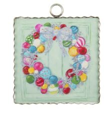 "Round Top Collection NWT Mini ""Wreath Of Colorful Baubles"" Print - Metal & Wood"