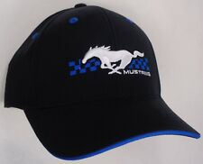 deee9fc9f9b81 Hat Cap Licensed Ford Mustang Pony Checkered Flag Black Blue CF