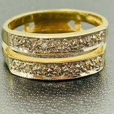 Solid 375 9ct Yellow Gold Double Band Diamond Dress Ring L320