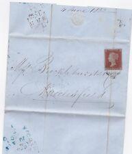 * 1852 JUN 4 BLUE MACCLESFIELD TRAVELLER SKELETON LONDON TO BROCKLEHURST BANKERS
