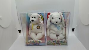 Ty Color Me Beanie Babies Bear and Bunny Complete Sets encased, rare