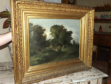 Antico quadro paesaggio dipinto olio su tela con cornice oro zecchino originale