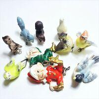 10 Vintage ELVES SQUIRRELS SONGBIRDS OWL CLIP-ON Christmas Ornaments Japan