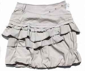 FEMMES JE VOUS France Gray Ruffle Bubble Knee Skirt 40 10 NWT