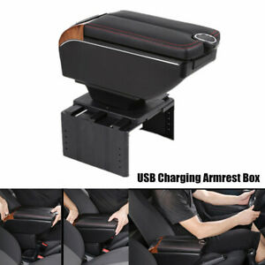 1X Car Dual Opening Armrest Box Central Console 7-USB Charging Cup Mount Storage