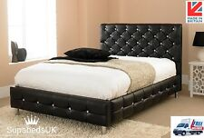 NEW LEATHER UPHOLSTERED BED FRAME WITH DIAMANTE HEADBOARD 3FT 4FT 5FT UK MADE
