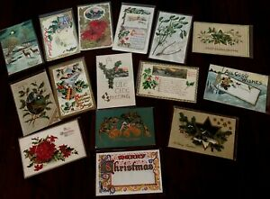Nice Lot of 15 Antique Christmas Postcards-Vintage ~In Protective Sleeves-k327