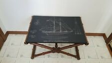 Vintage Slate Engraved Table Top Sailing Ship Isiah L. Jefferson  W/ Stand