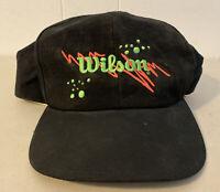 Vintage 90's Neon Wilson Tennis Black Green Pink Adjustable Hat Snapback