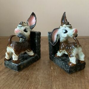 Vintage Ceramic Donkey bookends cartoon RIES REIS style 60s 70s kitsch Interest