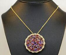 LOVELY 14K YELLOW GOLD PENDANT WITH DIAMONDS, AMETHYST, RUBIES, TOURMALINE! #F89
