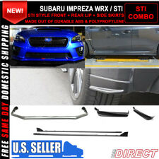 Fits 15-18 Subaru WRX OE STI Style V Limited Front + Rear Lip+Side Skirts ABS