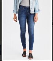 American Eagle Womens Sz 4 Short Medium Wash Super Hi Rise Skinny Jegging Jeans